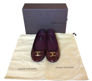 Louis Vuitton Patent Leather Red Ballet Burgundy Flats