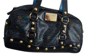 Coogi Rn#100622 Man Made Material Satchel in black with multi color Coogi logo