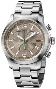 Gucci NEW Gucci G-Timeless Chronograph Brown Dial Stainless Steel Men's Watch YA126248