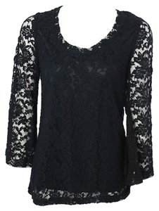 ivy jane Floral Lace Knit Top Black