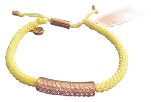 Michael Kors Michael Kors Neon Yellow Pave Crystal Bar Braided Bracelet