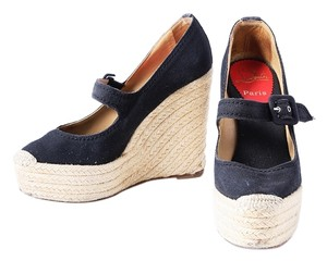 Christian Louboutin Canvas Espadrille Closed Toe Black Wedges
