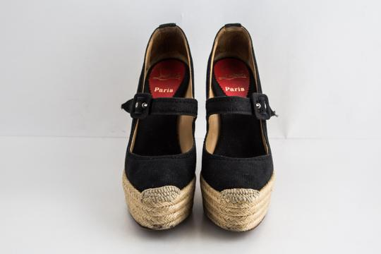 Christian Louboutin Canvas Espadrille Closed Toe Black Wedges Image 1