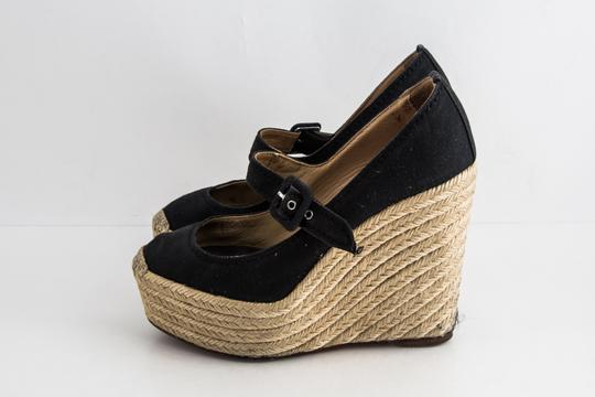 Christian Louboutin Canvas Espadrille Closed Toe Black Wedges Image 2