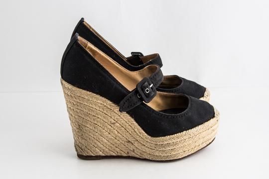Christian Louboutin Canvas Espadrille Closed Toe Black Wedges Image 3