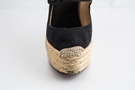 Christian Louboutin Canvas Espadrille Closed Toe Black Wedges Image 7