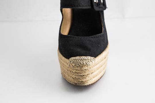 Christian Louboutin Canvas Espadrille Closed Toe Black Wedges Image 8