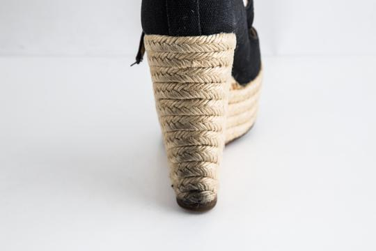 Christian Louboutin Canvas Espadrille Closed Toe Black Wedges Image 9