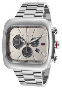 Gucci NEW Swiss Chronograph Coupe Stainless Steel Bracelet 44mm YA131201
