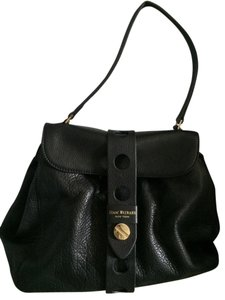 Isaac Mizrahi Leather Nailhead Studded Satchel in Black