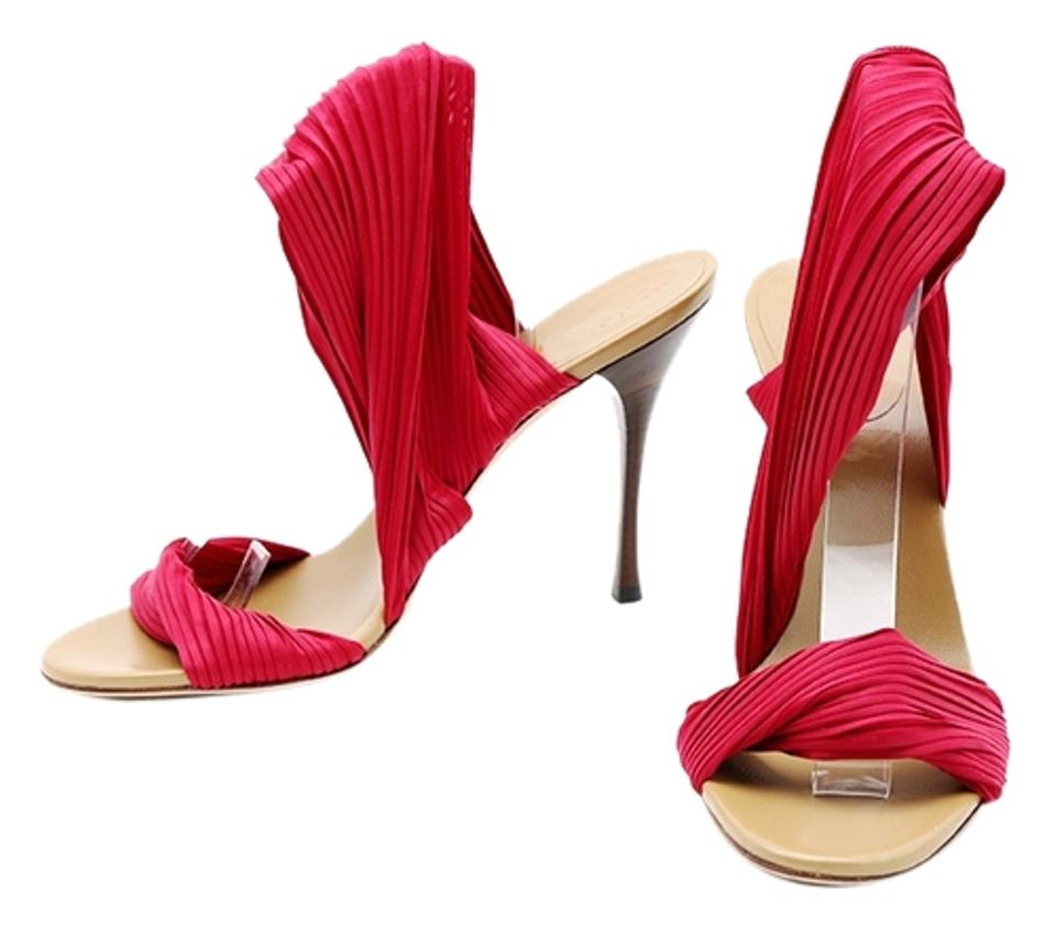 2cb8133da689 Gucci Pleated Ankle Wrap Pumps Wood Heel Open Toe Red Sandals Image 0 ...