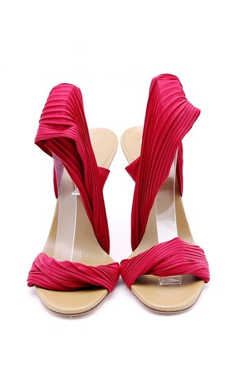 Gucci Pleated Ankle Wrap Pumps Wood Heel Open Toe Red Sandals Image 1