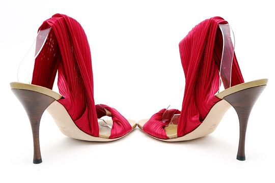 Gucci Pleated Ankle Wrap Pumps Wood Heel Open Toe Red Sandals Image 3
