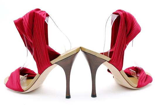 Gucci Pleated Ankle Wrap Pumps Wood Heel Open Toe Red Sandals Image 4