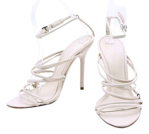 Hervé Leger Leather Pumps Ankle Strap Cream Sandals