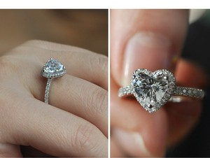 9.2.5 All Size Square Halo Pave Cushion Ring Band Wedding Engagement Silver Auth Ring Diamond Cz Bride Heart Diamond Travel