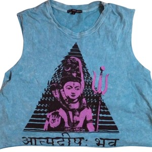 Truly Madly Deeply Acid Wash Buddha Urban Outfitters Crop Top Blue