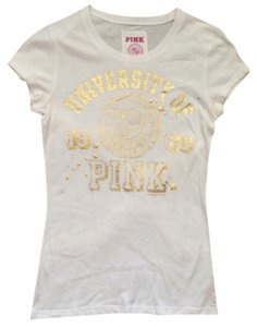 Victoria's Secret T Shirt White Gold