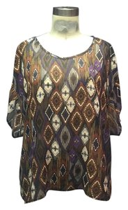 Forever 21 Print Slouch Fit Top Brown Aztec