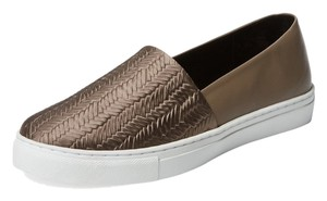 L'AGENCE Slip On Embossed Leather Sneaker Beige/Gold Flats