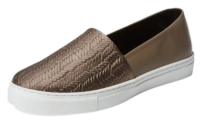 Item - Beige/Gold Embossed Leather Slip-on Sneaker Flats Size US 7