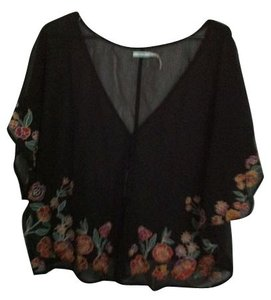 Urban Outfitters Top Sheer black with multi color embroidery