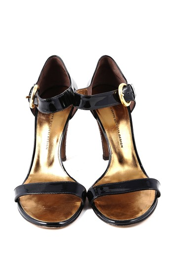 Giuseppe Zanotti Patent Leather Ankle Strap Gold Buckle Black Sandals Image 1