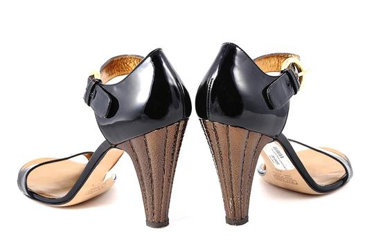Giuseppe Zanotti Patent Leather Ankle Strap Gold Buckle Black Sandals Image 3