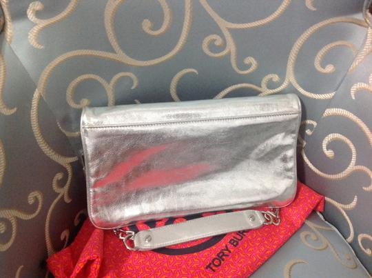 Tory Burch Silver Clutch Image 1