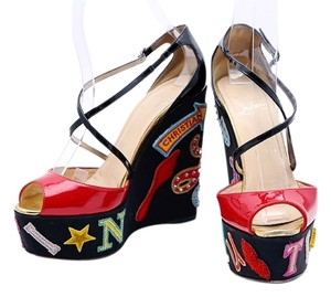 Christian Louboutin Patent Leather Black Ankle Strap Platform Multicolor Wedges