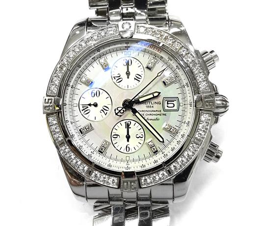 Breitling BREITLING A13356 Chronographe Automatic Watch With Diamonds on Bezel and Dial Image 4