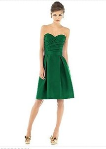 Alfred Sung Pine Green Peau De Soie Strapless Cocktail - D538 Formal Bridesmaid/Mob Dress Size 4 (S)