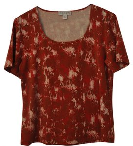 St. John T Shirt Reddish rust tan white