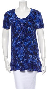 Vera Wang Lavender Label Blouse Ruffle Floral Abstract Tunic