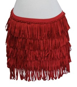 Calypso Fringe Fringe Mini Skirt Red