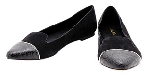 Calvin Klein Pointed Toe Suede Leather Black Flats