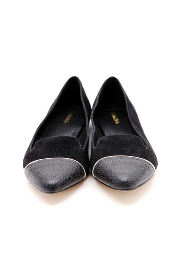 Calvin Klein Pointed Toe Suede Leather Black Flats Image 1