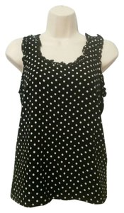 Tommy Hilfiger Ruffle Trim Sleeveless Blouse Top Black Polka Dot