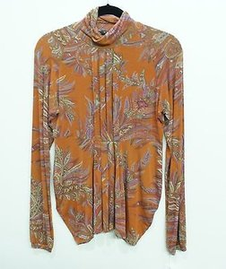 Etro Milano Rust Paisley Mock Turtleneck Or Top Multi-Color