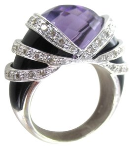 14K Solid White Gold Cocktail Ring with 64 Diamonds Onyx and big Amethyst