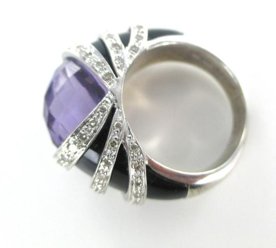 Other 14K Solid White Gold Cocktail Ring with 64 Diamonds Onyx and big Amethyst