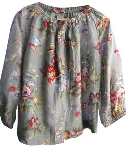 H&M Top Taupe Floral Print
