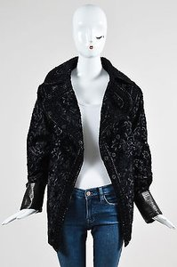 Andrew Gn Gn Floral Embroidered Sheared Leather Cuff Jacket Coat