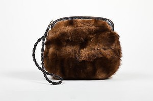 Vintage Falorni Tan Fur Brown Clutch