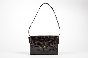 Dark Leather Crocodile Shoulder Bag