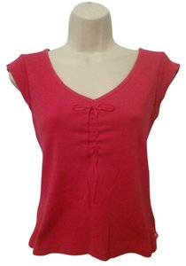 Express Jeans Tie Front V-neck Sleeve Blouse T Shirt Pink