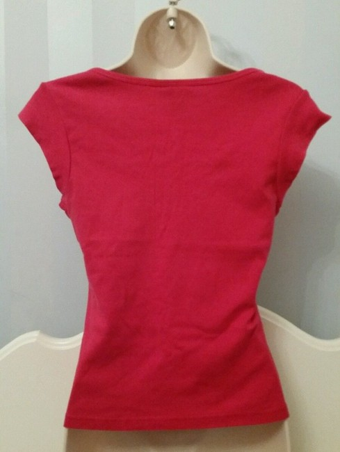 Express Jeans Tie Front V-neck Sleeve Blouse T Shirt Pink Image 1