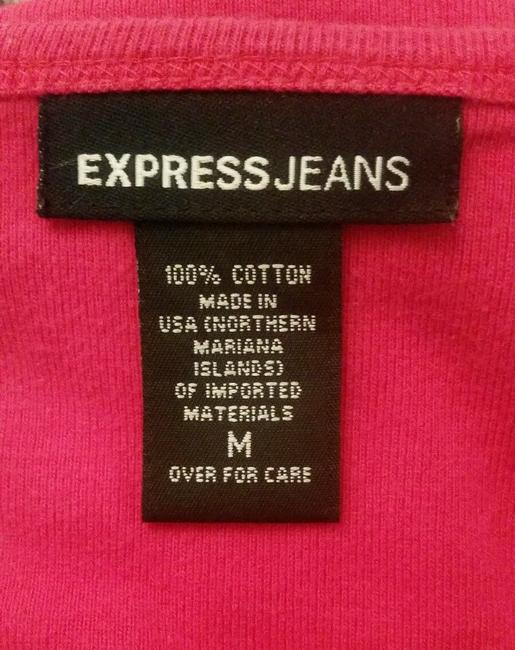 Express Jeans Tie Front V-neck Sleeve Blouse T Shirt Pink Image 3