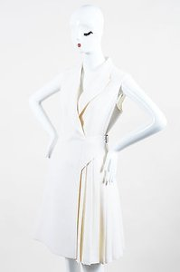 Dior Christian Wool Pleated Asymmetrical Wrap Blazer Dress