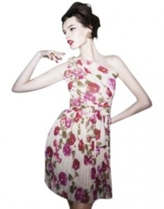 Alberta Ferretti short dress Red - Multi Floral-printed Wide Self-tie Sash Accordion-pleated A-line Skirt Olined on Tradesy